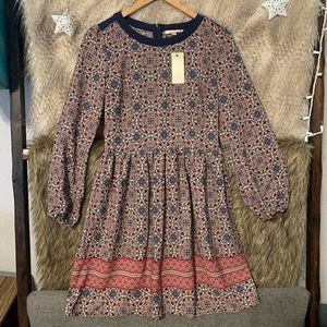 Skies Are Blue Red & Blue Long Sleeve Dress